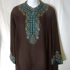 Dress Barn 1X Boho-chic brown, embroidered blouse